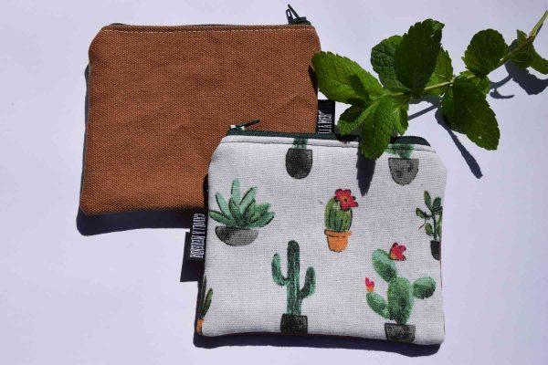 portamonete artigianale tessuto cactus chiaro