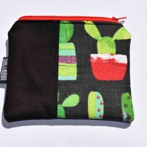 portamonete artigianale in tessuto fantasia cactus